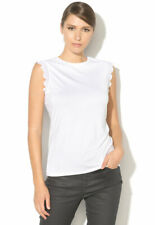 TED BAKER Elliah white scallop fitted stretch jersey top t-shirt tee basic 4 14