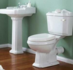 4 Piece Traditional Victorian Suite Toilet WC Basin, Pedestal, Seat
