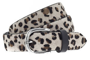 Vanzetti Animal Scouting 30mm Cambered Cow Fur Leather Belt W95 Gürtel Leo White