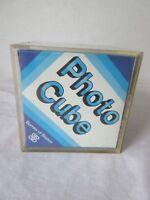 Vintage Burnes of Boston Clear Photo Cube Retro Desk Display 6 Photos