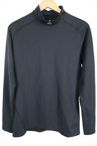adidas Mens sz XL Black TechFit Mockneck Long Sleeve Pullover Shirt ClimaWarm