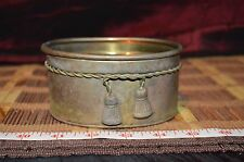 "Hosley Solid Brass Small Oval Planter Bowl w/Rope Trim Detail 4 3/4""x3 5/8"""