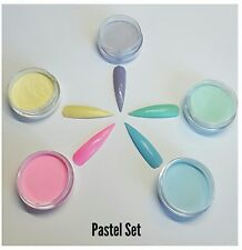 acrylic coloured powder PASTEL SET 10 g pots compatible with any monomer
