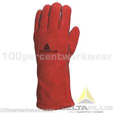 Delta Plus CA515R Red Leather Welders Welding Gauntlet Gloves Wood Burner Stove