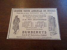 Publicité ancienne 1928 BURBERRYS Paris mode vêtement manteau Pub 14 x 9 advert