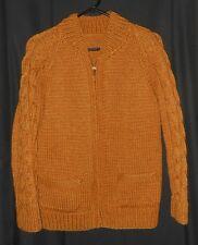 Vtg Wool Cardigan Sweater Hand Knit Heavy Zip Up Cowachin Clark Coats Small