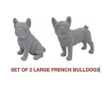 More details for set of 2 silver art glitter large french bulldogs  30cm tall