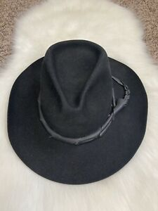 Shady Brady Wool Blend Cowboy Hat Men's Size 6 7/8 - 55 Black Leather Strap GUC