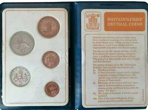 Vintage 1971. Britain's First Decimal Coins. 5 Coin Set.