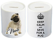 Personalised KEEP CALM Fawn Pug Ceramic Money Box Great Birthday Gift