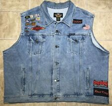 Harley Davidson Mens 3XL Denim Jean Vest w/ Various Patches & Motorcycle Pins