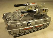 Vintage Tin Litho Friction Hisimo US Army Tank M-105 Toy 2 Guns Japan HTC