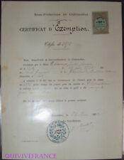 doc027 - CERTIFICAT EXEMPTION CLASSE 1875 CHATEAUDUN