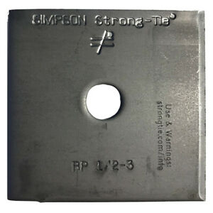 "Simpson Strong-Tie BP-1/2-3, 1/2"" Bolt Dia. 3"" x 3"" Bearing Plate"