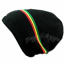 BEANIE CAP - BLACK/RASTA STRIPE Peak Sloucy Crown Jamaica Marley Dread lock