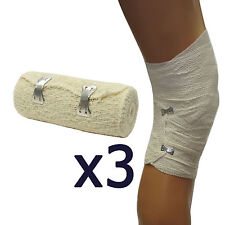 3 Pack Qualicare 10cm x 4.5m Medical First Aid Dressing Support Crepe Bandage