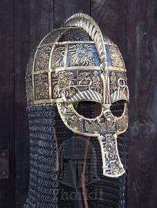 16 gauge Medieval Replica of Vendel 1 helmet Fully covered w brass bleches II