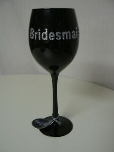 "Giftcraft Gift Gallery Black Bridesmaid Wine Glass Glitter 9.25"" H 466573"