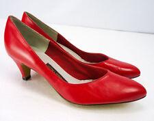 "Nos Vintage 80s Red Leather 2"" Stiletto Pump Heels Classics Mason Shoes 8.5 B"