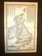 Carta geografica mappa Dufour del 1840 Isole Britanniche - British Isles