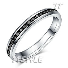 TT Dazzling 2.5mm Width S.Steel Eternity Black CZ Wedding Band Ring R343D