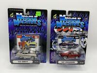 NEW MUSCLE MACHINES DIE CAST CAR LOT OF 2 55 CHEVY GRAY & 69 CHARGER RED 1:64
