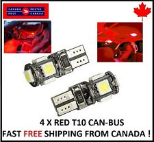 4PCS T10 RED 194 168 1W 5SMD LED No Error Canbus Side Lamp Wedge Light Bulb  1W