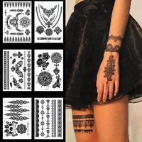Beauty Black Flowers Mehndi Temporary Tattoo Body Art Waterproof Henna Stickers