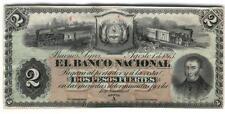 ARGENTINA PROOF BANCO NACIONAL $2 1873 XF  P.s 650p  BAUMAN  BN-55p