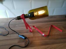Red Ribbon Recycled Bottle Table Lamp Including Edison Bulb. UK 13 Amp Plug