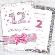 12th Birthday Party Invites - Pink with photo effect glitter - A6 Size (Pack 10)