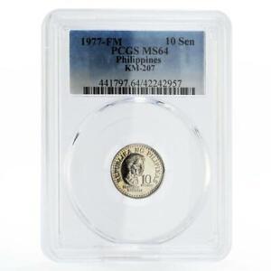 Philippines 10 sentimos Poet Francisco Balagtas MS64 PCGS nickel coin 1977