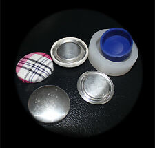 50 Fabric Self Cover Flat Back Buttons 27mm  DIY inc Tool NEW STYLE TRUE FLAT