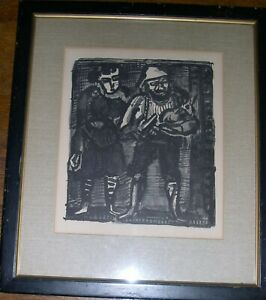 George Rouault Wood Engraving From Miserere-Standing Couple