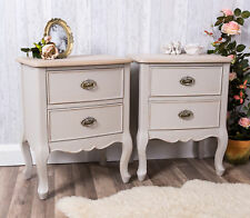 Pair Of Grey Bedside Tables Shabby Antique Chic Ornate Bedroom Furniture Home