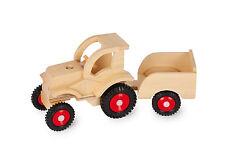 Holztraktor Traktor Holz mit Hänger farbig schon älter Spielzeug