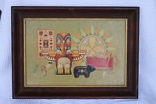 Vintage K. Chin Board Print Lithograph Indian Artifacts TOTEMPOLE w/ wood frame