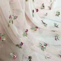 Beaded Costume Evening Dress Lace Fabric Flowers Dancing Show Wear Tulle 0.5 M