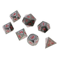 7pcs Polyhedral Dices D4 D6 D8 D10 D12 D20 for Dungeons &Dragons DND Game -A