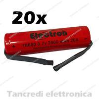 20 Batteria litio 18650 3.7V 2600 mAh 8C 20A linguette a saldare lamelle tabs