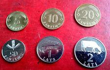 LATVIA 1992 > 2009  1,2,5,10,20,50 SANTIMS 1 , 2 Lats COW COIN UNC rare FULL set