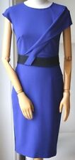 ROLAND MOURET NEPA ROYAL BLUE CREPE DRESS IT 42 UK 10 FR 38