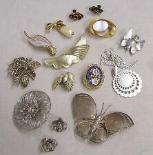 Vintage Jewelry LOT Asst Brooches Sets Necklace Some Signed No Issues 1960s