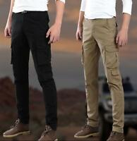 Mens Work Slim Fit Chic Cargo Overalls Skinny Military Pants Packet Trousers New