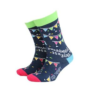 Men's Welsh Penblwydd Hapus Gift Socks from Sock Therapy by Smiling Faces