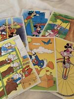 6 Vintage Walt Disney Productions Mickey & Friends Sewing Cards 1984