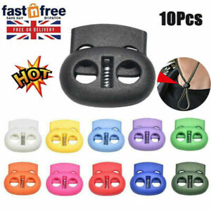 10X 5mm Hole Stopper Cord Lock Bean Toggle Clip Apparel Shoelace Cord Lanyard UK