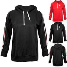 Womens Ladies Side Stripes Full Sleeve Hooded Hoody Pullover Sweater Sweatshirt