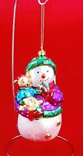 """Hand painted Blown Glass Large 6"""" SNOWMAN with Teddy Bear Christmas Ornament"""