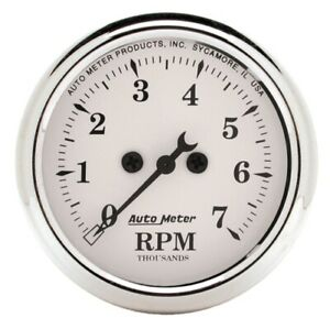 """Auto Meter 1694 2-1/16"""" In-Dash Tachometer 0-7,000 Rpm Old-Tyme White NEW"""